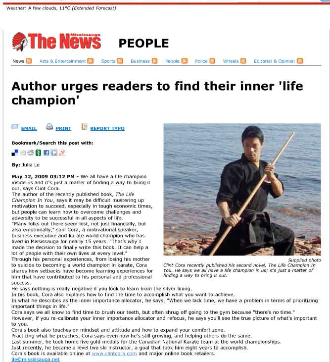 image mississauga news press coverage clint cora author karate champion